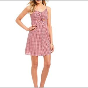 NORDSTROM SOPRANO Red & White Gingham Pattern Front Tie Cut Out Dress Size S